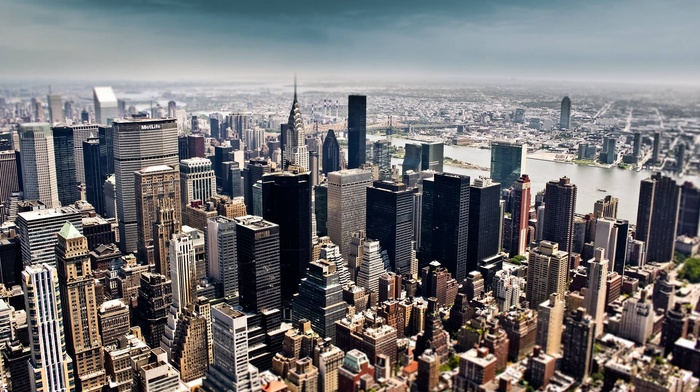 blurred, New York City, cityscape, city, Chrysler Building, building, urban, tilt shift