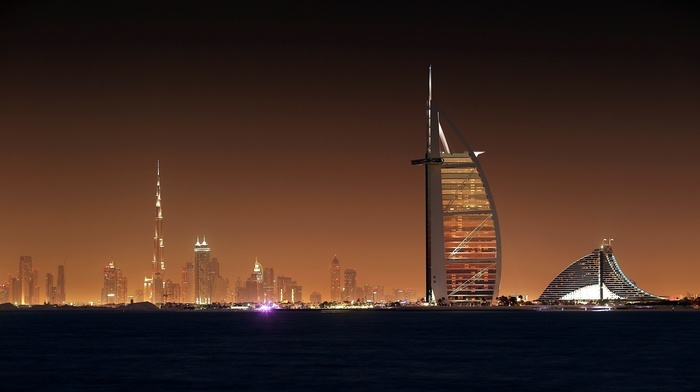 lights, sea, skyscrapers, cities, evening