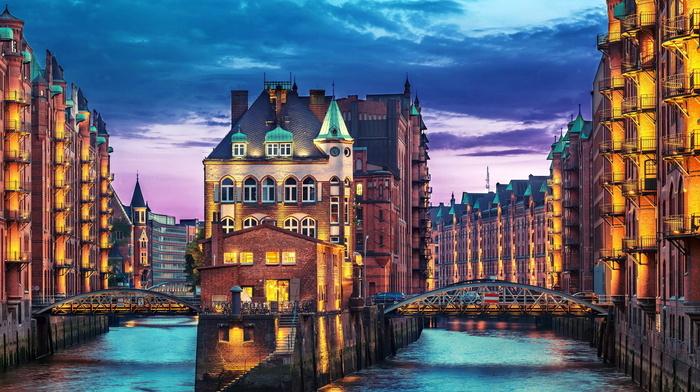 river, city, cities, Germany, evening, bridge, houses