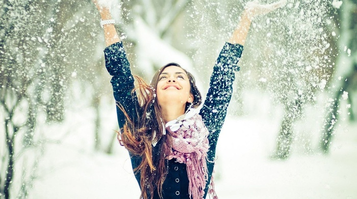 winter, people, beauty, joy, girl, face, snow