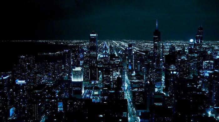 skyscrapers, city, cities, USA, night, light, Chicago