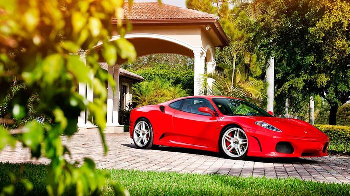 supercar, red, Italy, sportcar, house, Ferrari, trees, cars