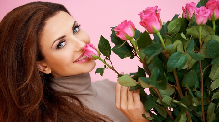 smiling, haired, model, roses, girl, people