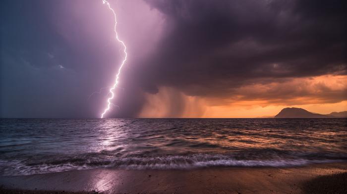 sunset, mountain, ocean, nature, beach, sky, sea, lightning, rain