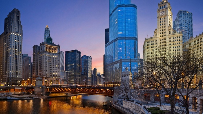 city, sky, trees, stairs, evening, clocks, beauty, river, Chicago, lighting, lights, bridge, cities, skyscrapers