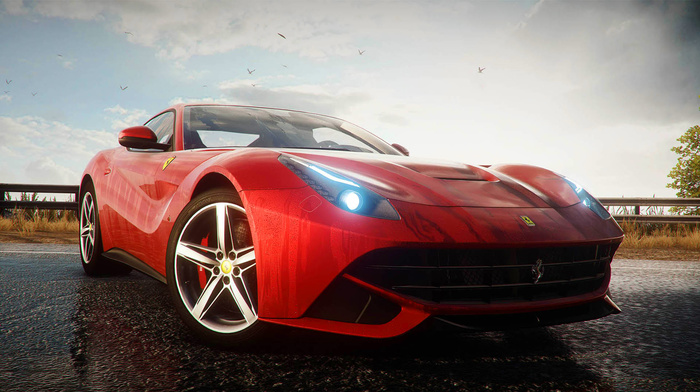 cars, red, birds, photo, supercar, sportcar, road, sky, headlights, Ferrari