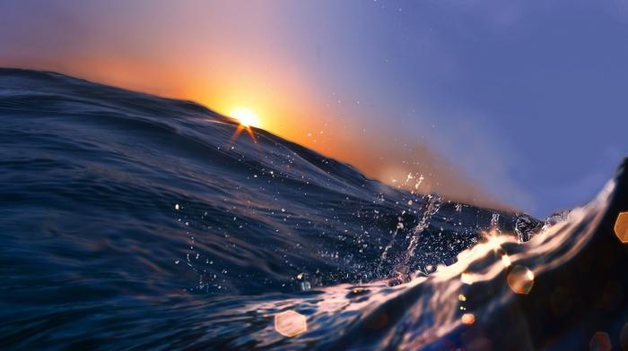 macro, ocean, sky, drops, sunset, water, stunner, wave, photo, splash, Sun