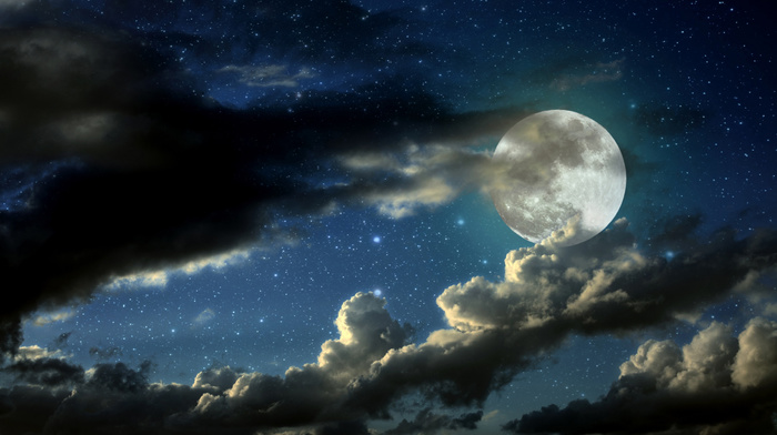 space, stars, clouds, sky, moon, stunner, photoshop