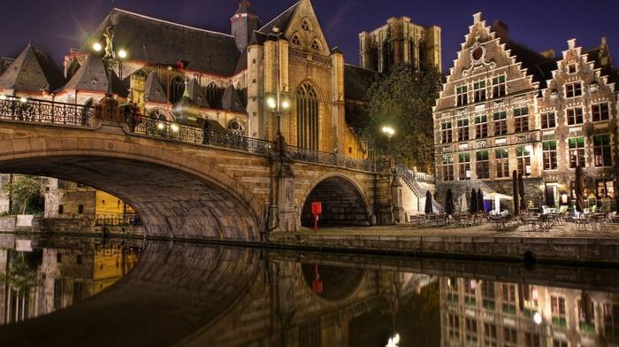 lighting, cities, embankment, lights, night, rest, beauty, bridge, river