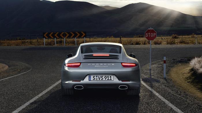 Porsche, rear view, gray, cars, road
