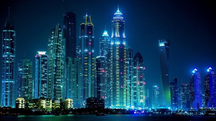 night, lights, Dubai, city, cities