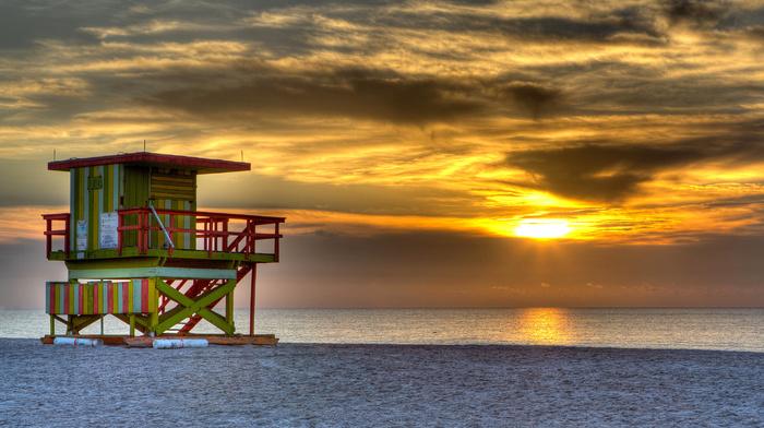 lodge, ocean, sand, nature, clouds, beach, sea, sky, evening, USA, Sun, sunset