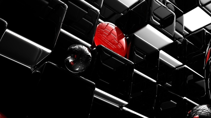red, balloon, black, reflection, beautiful, 3D