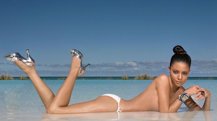 swimming pool, sky, girls, brunette, fashion model, sea, sight