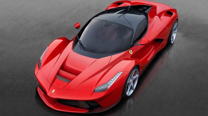 Ferrari, supercar, ferrari, gray background, sportcar, red, cars