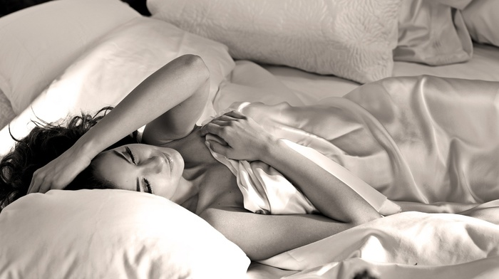 monochrome, Emmanuelle Chriqui, brunette, in bed, silk lingerie