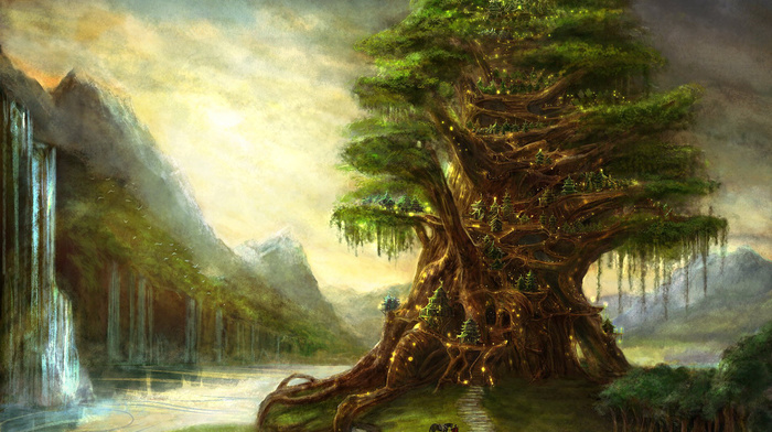 drawing, fantasy, tree, magic, waterfall, elves