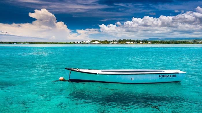 clouds, Mauritius, sea, water, boat, island