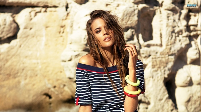 striped clothing, girl, sweater, brunette, Clara Alonso