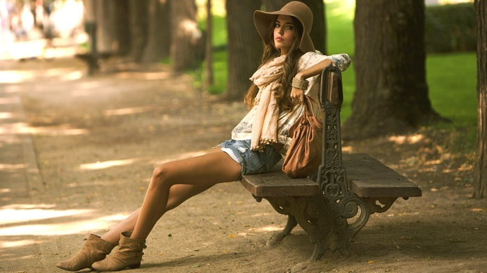 girl, girl outdoors, legs, Clara Alonso, brunette, sitting