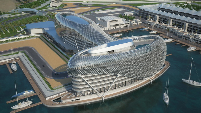 Formula 1, building, water, stunner, track, berth