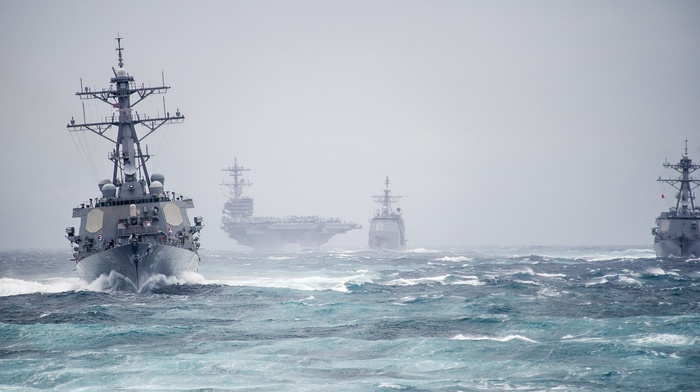 wave, ships, gun, wind, USA