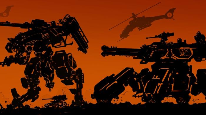 artwork, mech, orange, concept art, fantasy art, robot, war