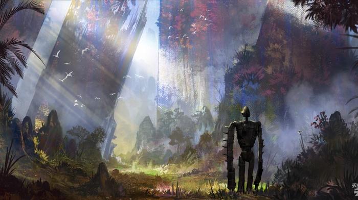 Castle in the Sky, concept art, cyberpunk, Studio Ghibli, robot, artwork, anime