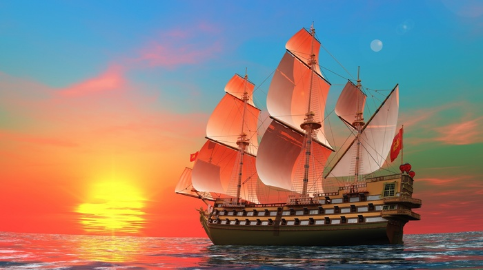 sailfish, fantasy, stunner, Sun, sea, warship, photoshop