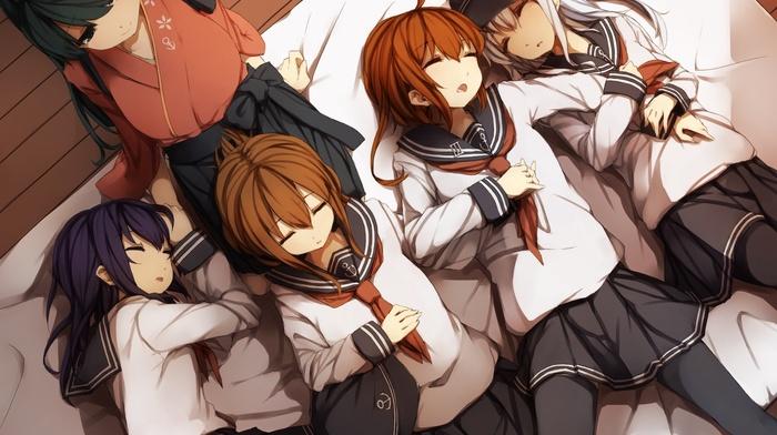 Kantai Collection, школьницы, школьная форма, аниме, девушки из аниме