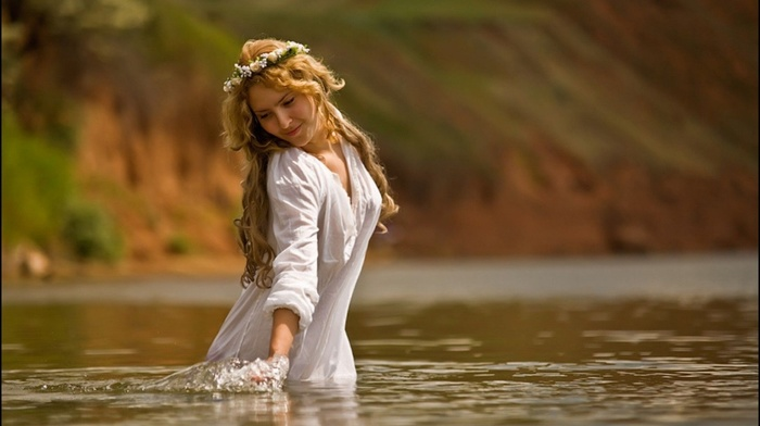 beauty, girl, stunner, eyes, river, water, face, sight, holiday