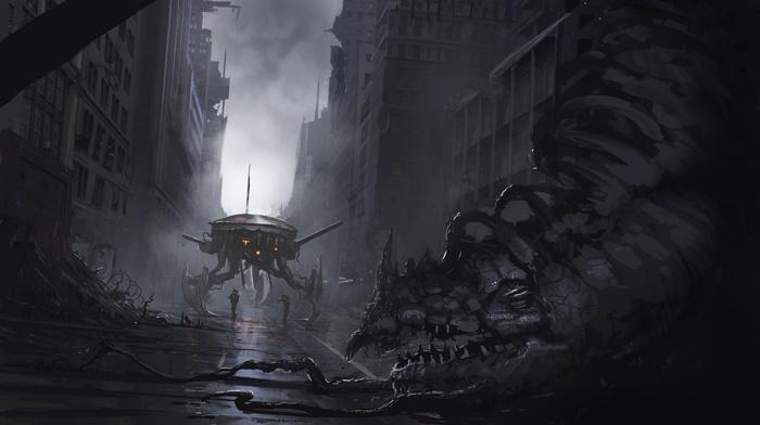 City Soldier Destruction Creature Concept Art Artwork