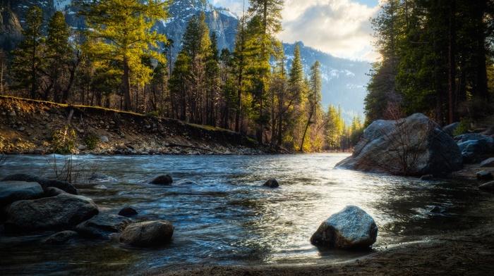 лес, вода, природа, река, горы