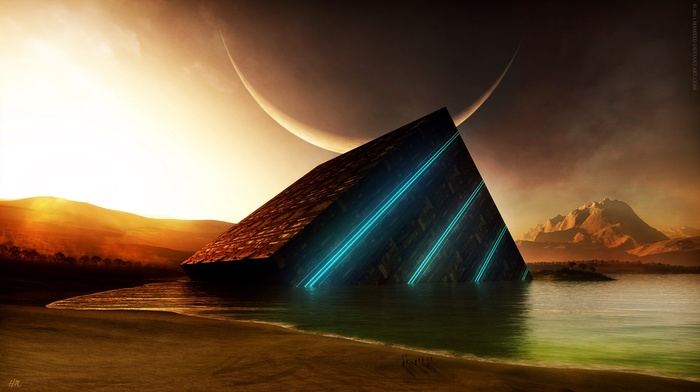science fiction, sunset, glowing, mountain, water, digital art, moon, abstract, crescent moon, cube
