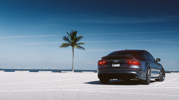 supercar, cars, Audi, bay, palm, parking, sky