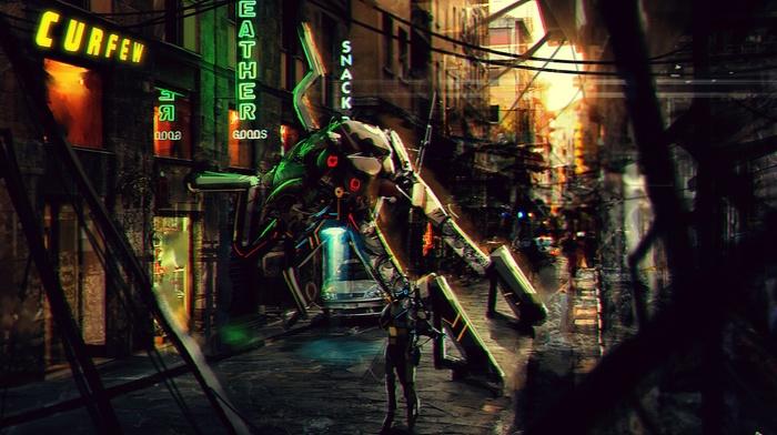 concept art, robot, urban, artwork, fantasy art, city, mech