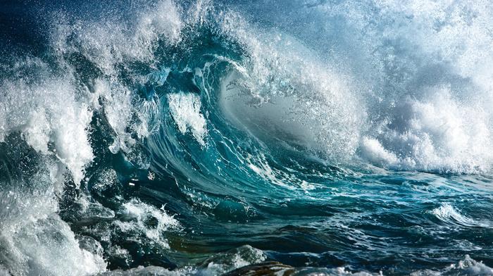 stunner, storm, wave, stones, nature, wind, splash, rocks