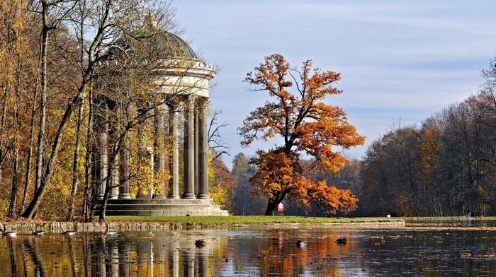 foliage, beauty, sky, autumn, lake, tree, stunner