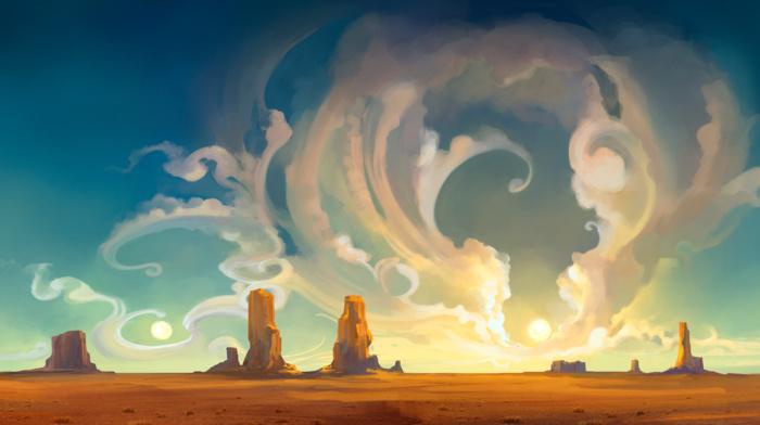 пейзаж, небо, природа, пустыня, цифровое искусство, произведение искусства, облака