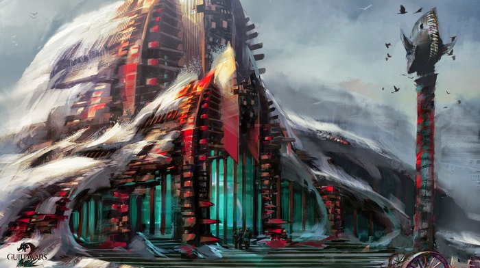 video games, concept art, artwork, Guild Wars 2, digital art, building, fantasy art, tower, snow