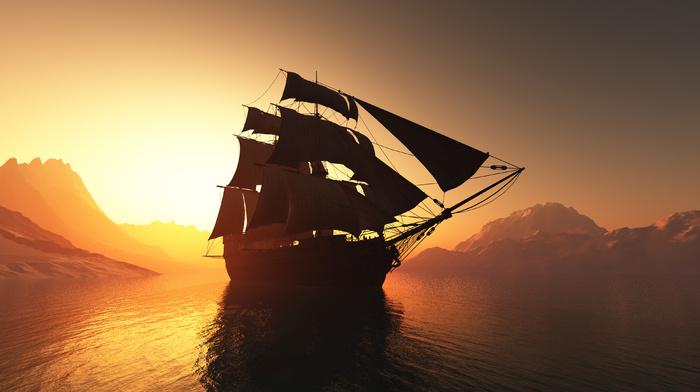 3D, Sun, photoshop, water, mountain, sailfish, sky, bay