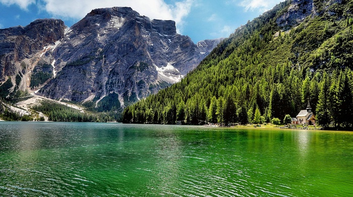 landscape, forest, nature, lake, trees, mountain, Italy