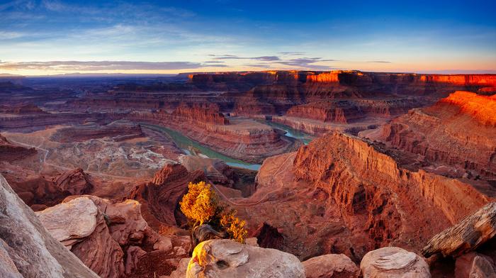 sky, rocks, USA, mountain, stones, nature, sunset, river, canyon