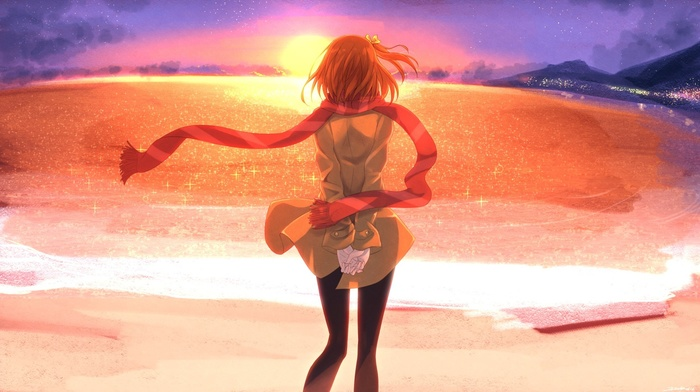 beach, sunset, Kousaka Honoka, anime girls, Love Live