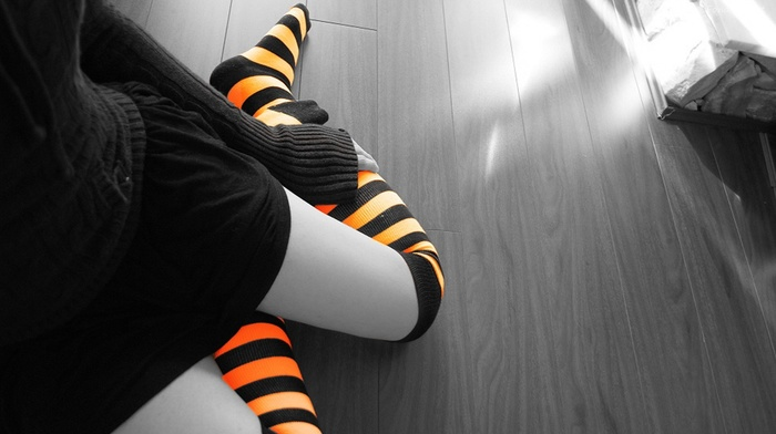 selective coloring, girl, stripes, stockings, legs