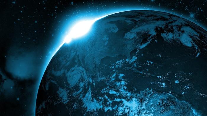 космос, Америка, звезды, Северная, свет, красивые, солнца, Земля, фотошоп, южная