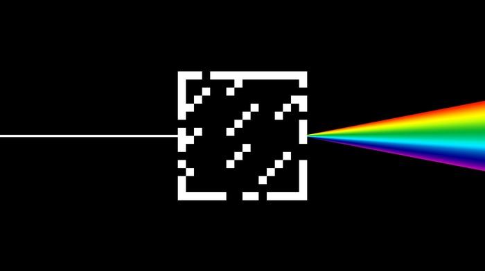 Minecraft, glass, rainbows, dark side of the moon, black, minimalism, pink floyd