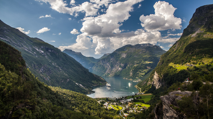 Norway, clouds, bay, nature, mountain, ships, sky