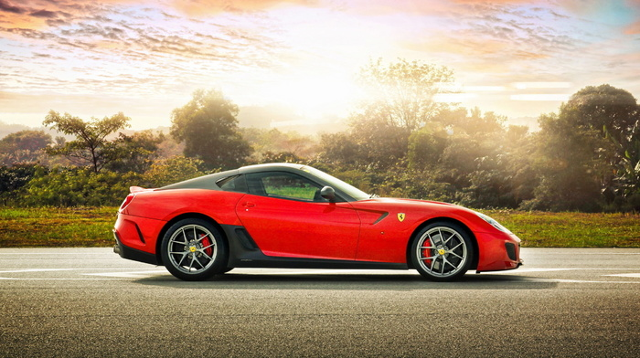 sportcar, supercar, Ferrari, red, light, ferrari, cars, road, nature