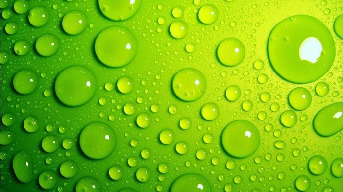 green, water drops, macro